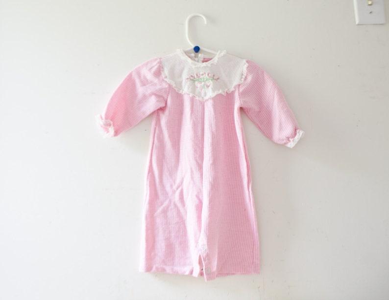 32e59f101d0e Vintage Baby Onesie Pajamas PJs Vintage Pink Pajamas Size 6