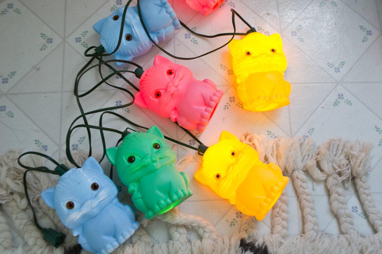 Vintage Blow Mold Cat Lights String Light Patio Camper Rv