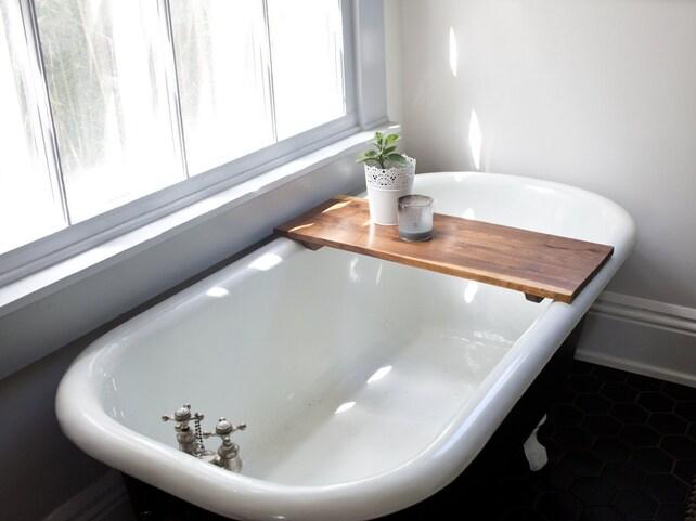Modern Bathtub Tray Walnut Wood Bath Tub Caddy Wooden Shelf | Etsy