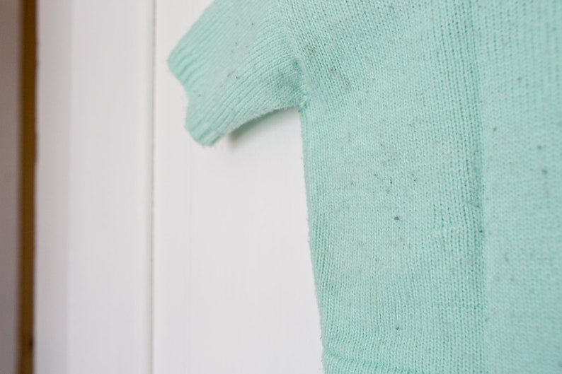Vintage Baby Sweater T-Shirt Vintage Mint Green Baby Sweater 12 months Knit Sweater Novelty Knit