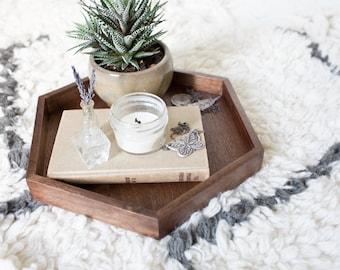 Hexagon Tray - Walnut Wooden Tray Wooden Tray Table Ottoman Tray Wall Art Handmade