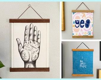 Magnetic Poster Hangers - Walnut Cherry Oak Print Map Frameless Wall Hanging Handmade