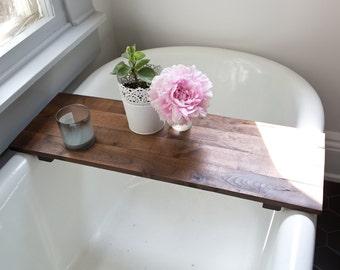 Rustic Wood Bath Tub Tray - Walnut Bath Tray Caddy Wooden Shelf Desk Board Clawfoot Handmade