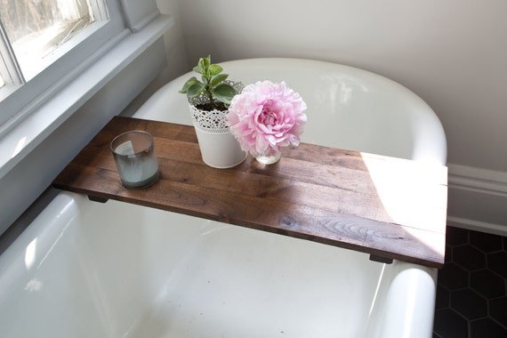 Rustic Wood Bathtub Tray Walnut Bath Tub Caddy Wooden | Etsy