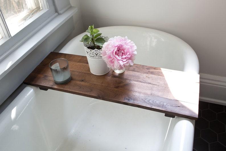 Rustic Wood Bathtub Tray  Walnut Bath Tray Tub Caddy Wooden image 0