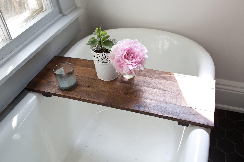 Rustic Wood Bathtub Tray Walnut Bath Tray Tub Caddy Wooden Bathtub Shelf Computer Desk Gaming Board Clawfoot Tub Tray Handmade