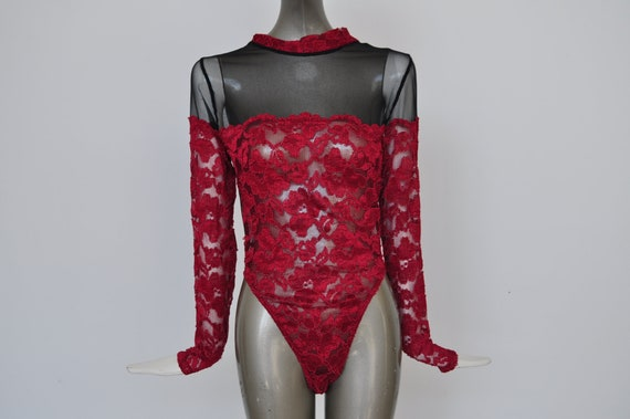80s Bodysuit with lace aplique.