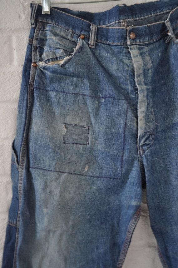 Vintage Mens sanforized denim Jeans circa 1940s - image 2