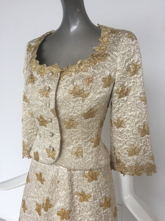 Silk brocade couture skirt suit 1960s