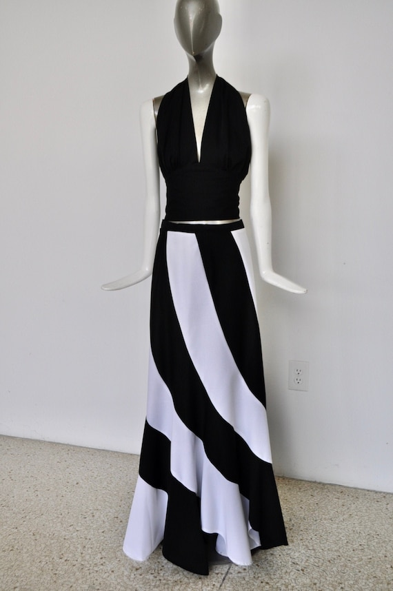70s maxi skirt with halter top