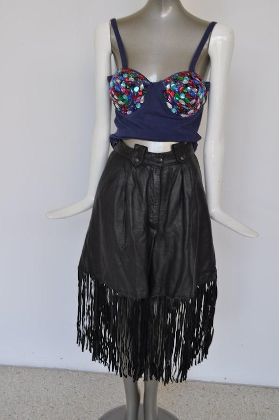 Fringed leather shorts, 80s european sz 42