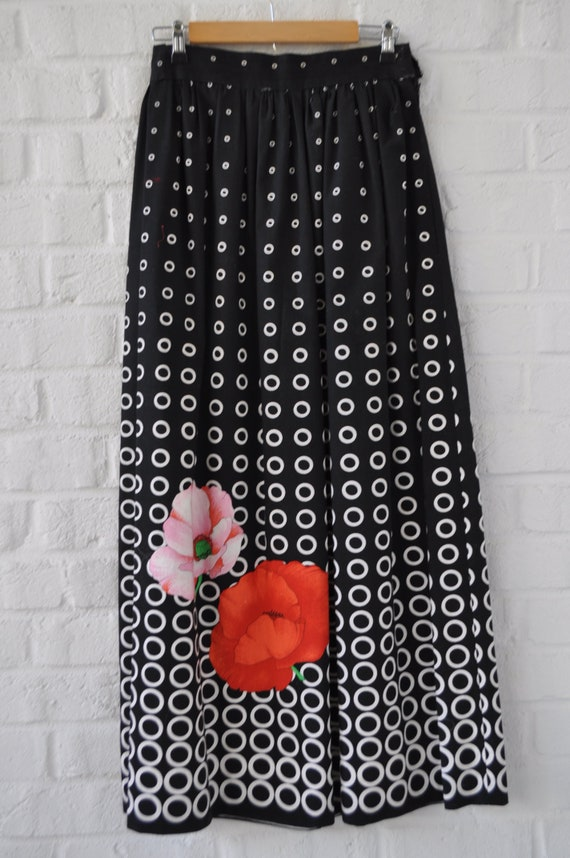 1970s maxi skirt abstract print floral design - image 2