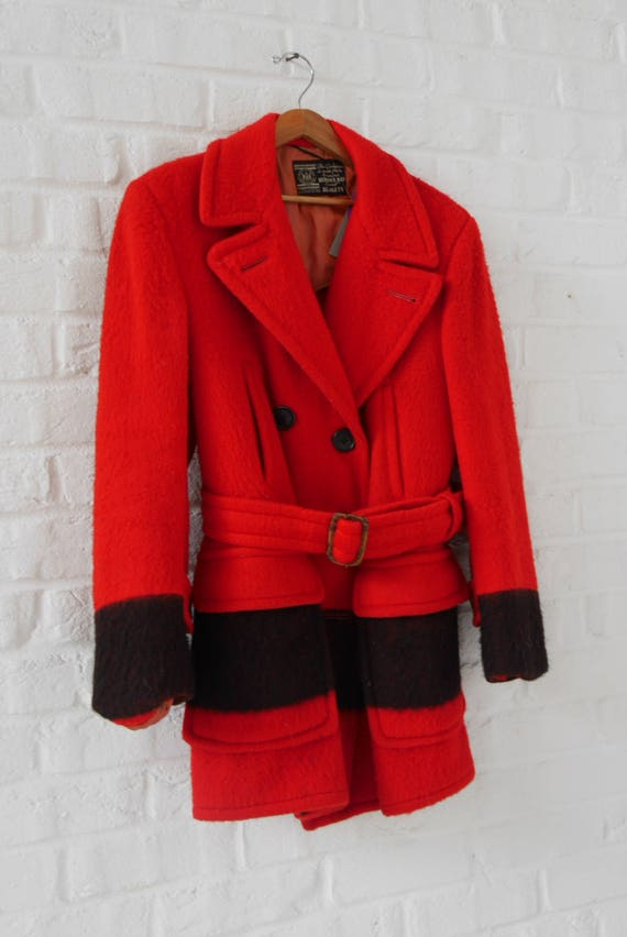 Hudson's Bay point Blanket coat Red/Black mint con