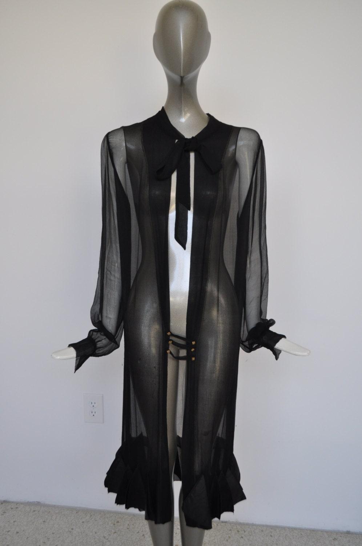 vintage 1920s chiffon robe avant garde style ruffled hem. Black Bedroom Furniture Sets. Home Design Ideas