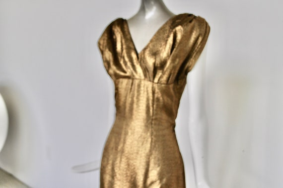 1950s dress Gold Lame