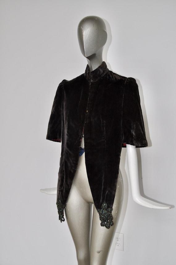 1920s capelet silk and velvet