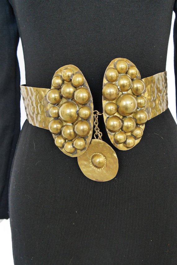 Designer Boho brass cinch belt. Avant-garde design