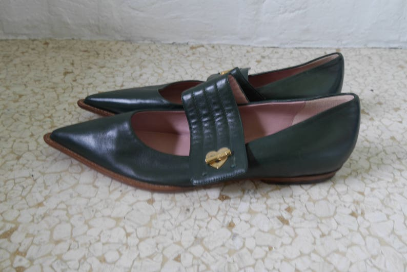Moschino shoes flats with logo buckle 90s dead stock