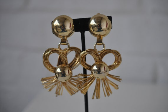 Huge drop earrings 80s  get 20% discount w code
