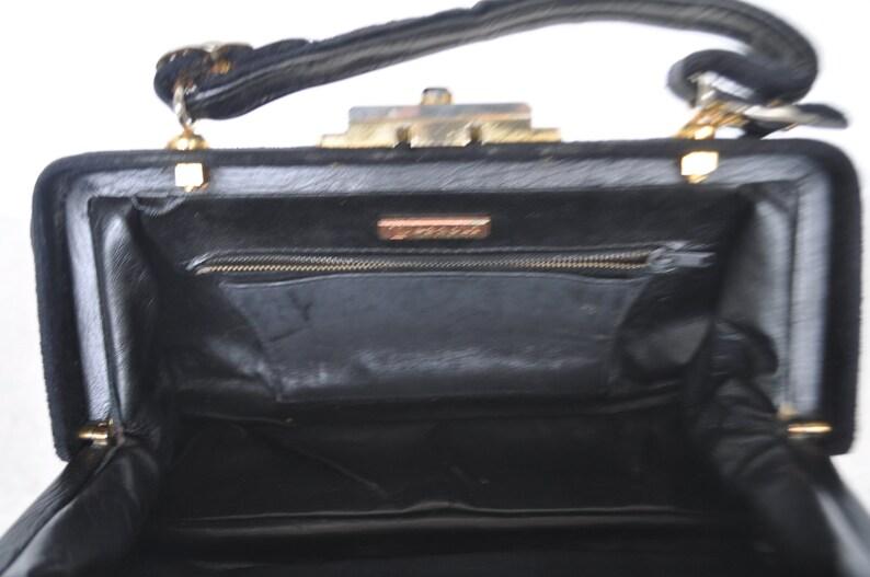 Pezzoli purse Italy velvet and leather 70s