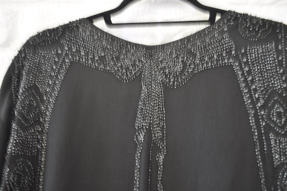 1930s Crepe de chine beaded blouse