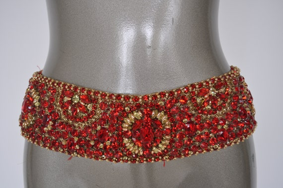 Christal beaded cinch belt 1970s