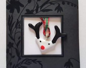 Rudolf the Red-nose Reindeer Christmas black Card and Fused glass ornament and a decoration Xmas gift 2021 2022
