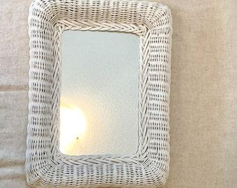 Vintage White rectangular wicker mirror