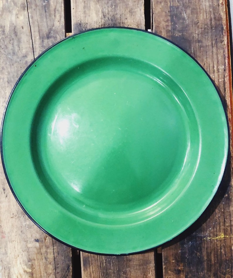 Vintage Enamelware Green plate Shabby Chic Cabin decor Cabane Collection