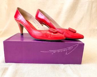 Vintage Red Caressa Pumps, Vintage shoes, Size 8M