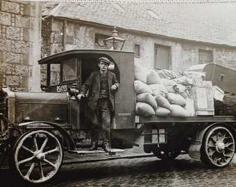 Vintage Postcard of a Lorry/ Trucker delivery driver Circa 1920's -  FREE SHIPPING