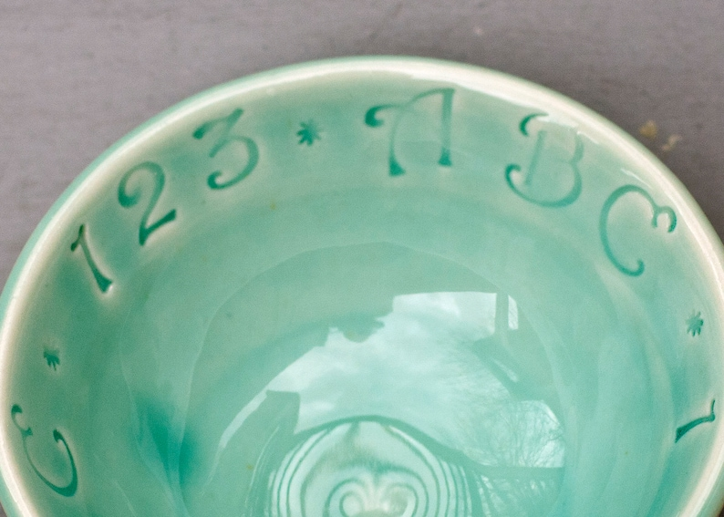 Wheel Thrown Pottery Bowl ABC bowl Baby Shower Gift Celadon Bowl Porcelain Baby Bowl ABC Bowl Small Bowl Ready to Ship Baby gift
