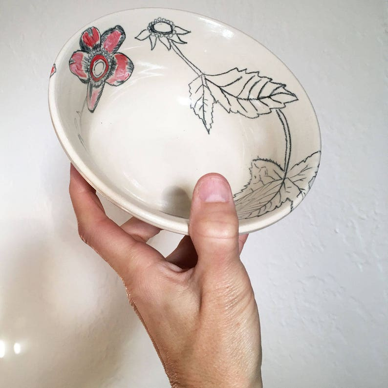 Hand Painted Bowl Handmade Bowl Stoneware Bowl Handmade Serving Bowl Botanical Flower Bowl Raspberry Bowl Pottery Bowl Floral Bowl