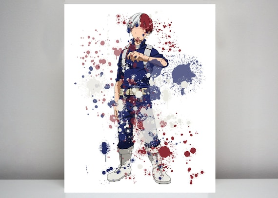 Shoto Todoroki My Hero Academia Graphic Watercolor Print