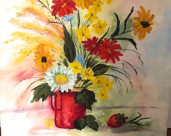 Vintage Painting - Floral Bouquet - 1986 - Acrylic Canvas Painting - Vintage Wall Decor