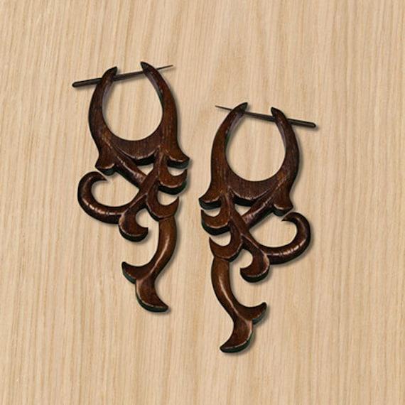 Aros de Madera Post pendientes Mini Eco-Friendly pendientes tribales en madera oscura Tropical