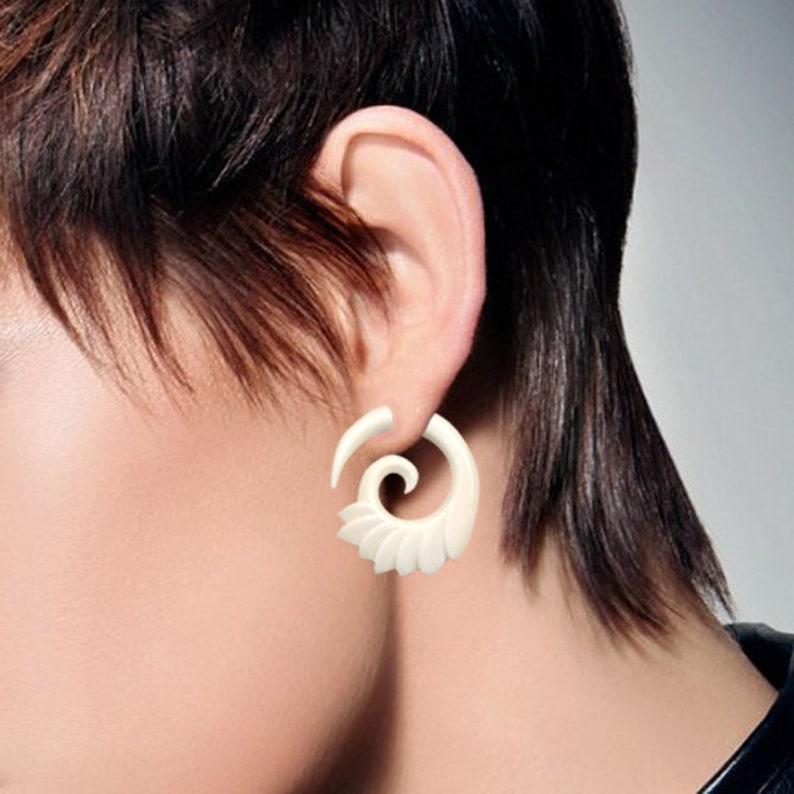 White Bone Earrings B30 Tribal Earrings Fake Gauge Spiral Earrings Bone Wing Spirals