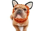 Fox Dog Snood | Knit Crochet Dog Hat | Halloween Dog Costume | Ear Warmer