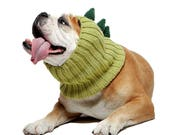 Dinosaur Dog Snood | Knit Crochet Dog Hat | Halloween Dog Costume | Ear Warmer