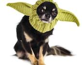 Baby Alien Dog Snood   Knit Crochet Dog Hat   Halloween Dog Costume   Ear Warmer