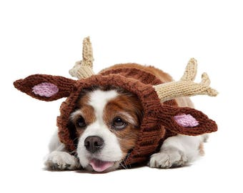 Reindeer Dog Snood | Knit Crochet Dog Hat with Antlers | Halloween Dog Costume | Ear Warmer