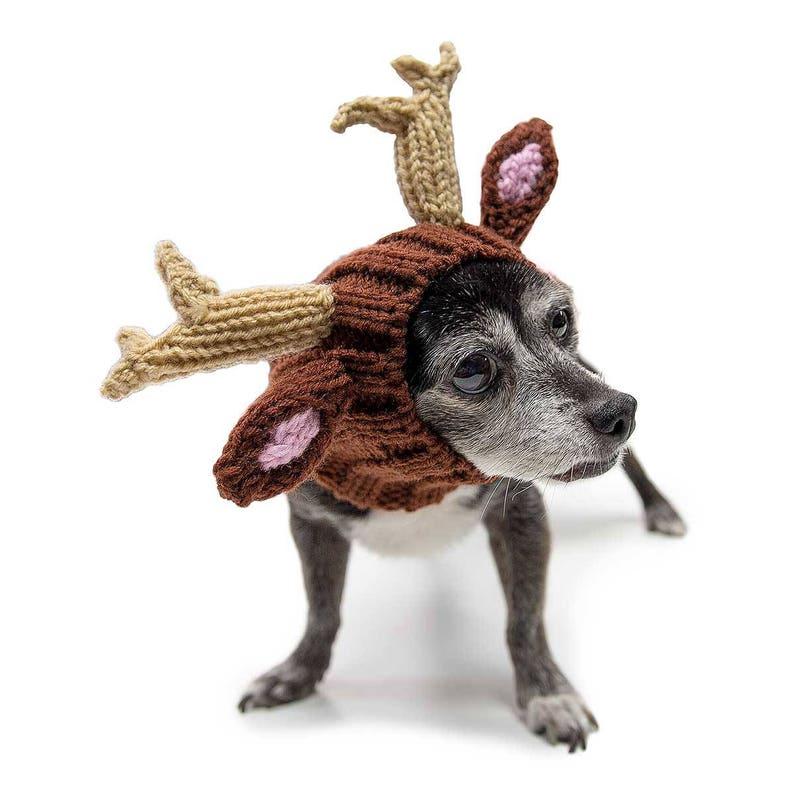 Dog Costume Ear Warmer Knit Crochet Dog Hat Winter Scarf Reindeer Dog Snood