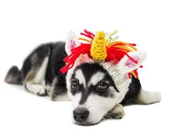Unicorn Dog Snood | Knit Crochet Dog Hat | Dog Costume | Winter Scarf | Ear Warmer