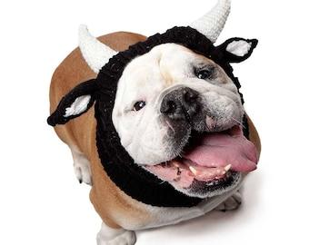 Bull Dog Snood | Knit Crochet Dog Hat | Halloween Dog Costume | Ear Warmer