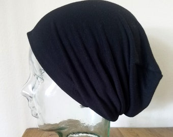 Black Slouch Beanie, Soft Slouch Hat, Light Weight Hat, Hipster Beanie, Men's Beanie, Women's Slouch Hat, Chemo Cap, Alopecia