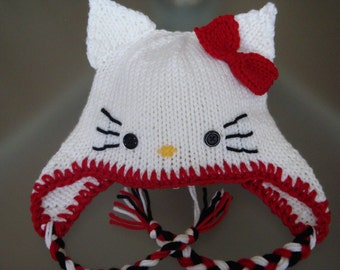 Hello Kitty Beanie with Earflaps and Red Bow - Newborn Baby 412b5bb96946