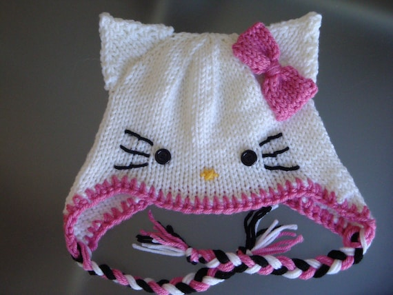 Pink Hello Kitty Hat Earflap Beanie Cat Beanie Pink Bow Etsy