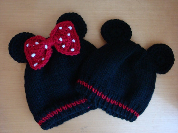 Mickey OR Minnie Mouse Inspired Baby Beanies Hand Knit Mickey Mouse ... a837df14c2e