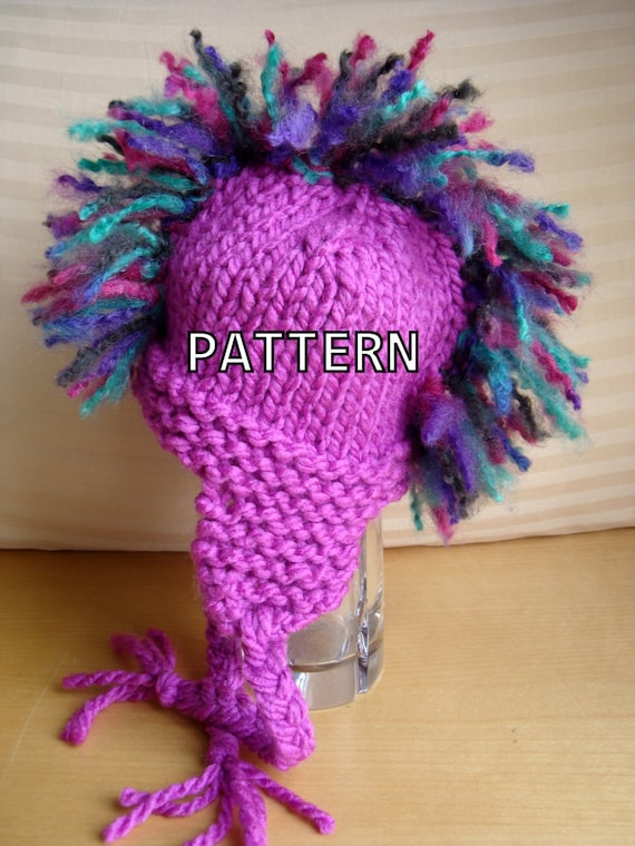 Knitting Pattern Pdf Mohawk Hat Pattern Instant Download
