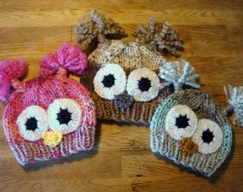 Owl Beanie for Kids, Babies, Adults, Tweed Stripe Owl Beanie, Hand Knit & Crochet Owl Hat, Photo Prop Animal Hat, Newborn Baby Toddler